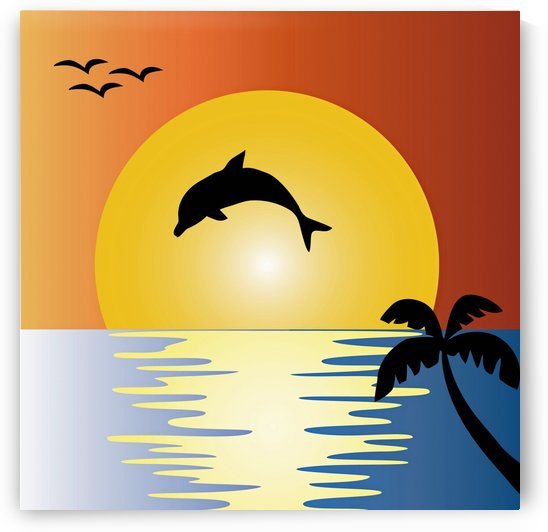 ocean sunset dolphin palm tree by Shamudy