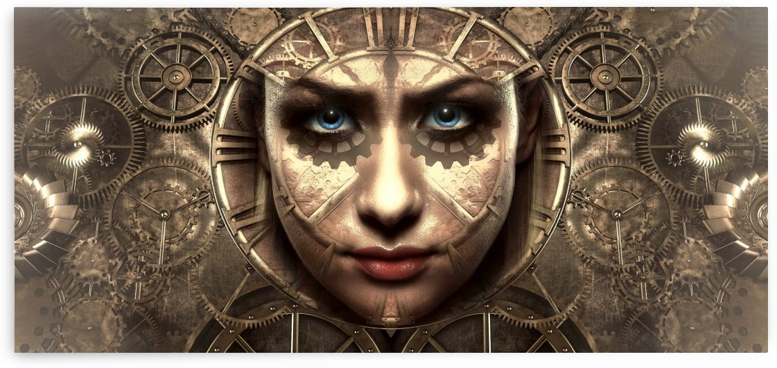 fantasy portrait face clock time by Shamudy
