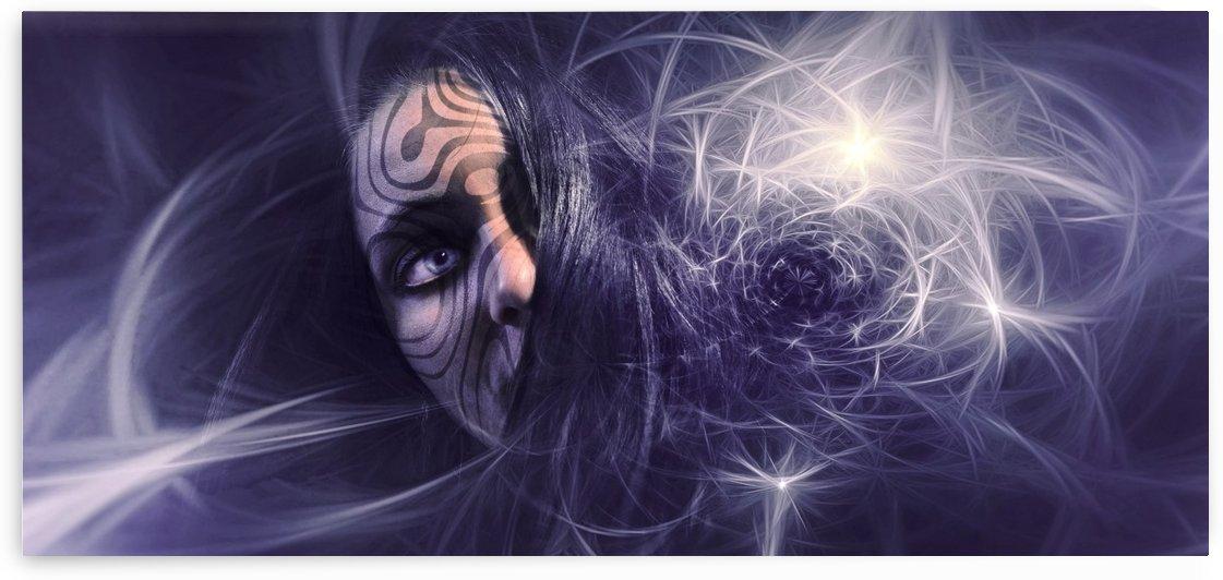 fantasy portrait face tattoo light by Shamudy