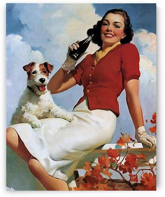 vintage poster soda woman and dog by Shamudy