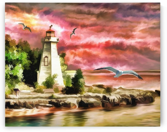 lighthouse ocean sunset seagulls by Shamudy
