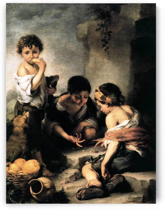 Boys playing dice by Bartolome Esteban Murillo