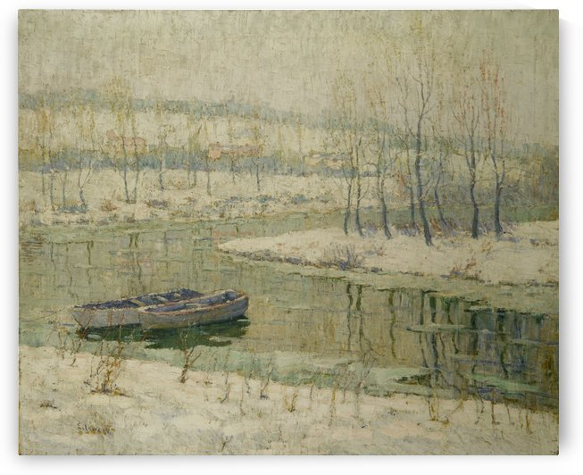 Two boats by a river by Ernest Lawson