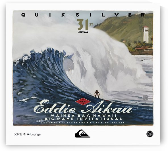 2015 QUIKSILVER - EDDIE AIKAU Big Wave Invitational Surfing Competition Print by Surf Posters