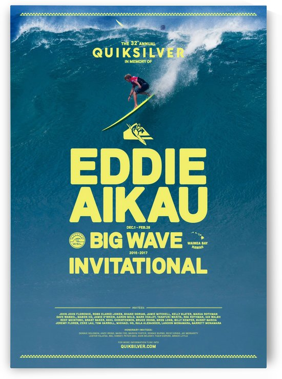 2017 QUIKSILVER - EDDIE AIKAU Big Wave Invitational Surfing Competition Print by Surf Posters