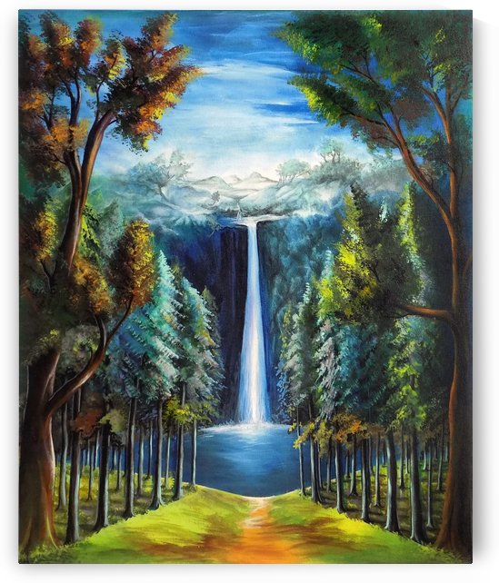 THE BEAUTIFUL WATERFALL PAINTING by ASP ARTS