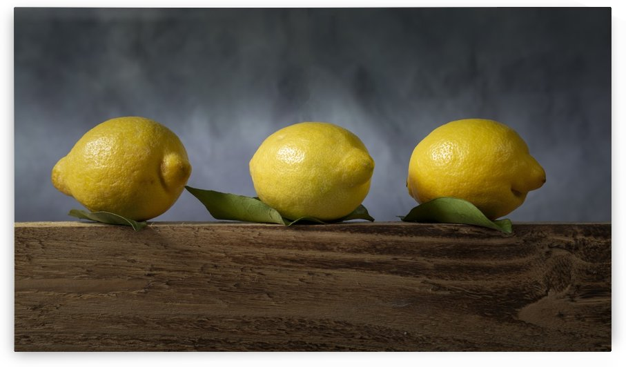Three lemons with leaves by Leighton Collins
