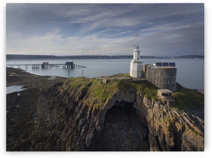 Mumbles Lighthouse pier and Bobs cave by Leighton Collins