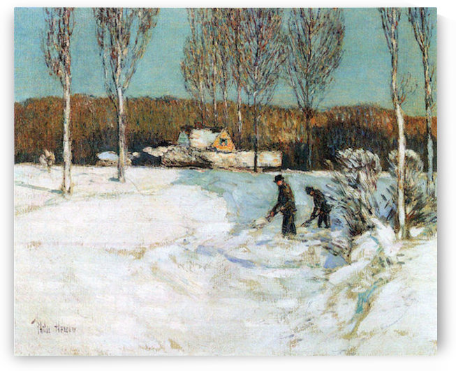 Snow shovels, New England by Hassam by Hassam