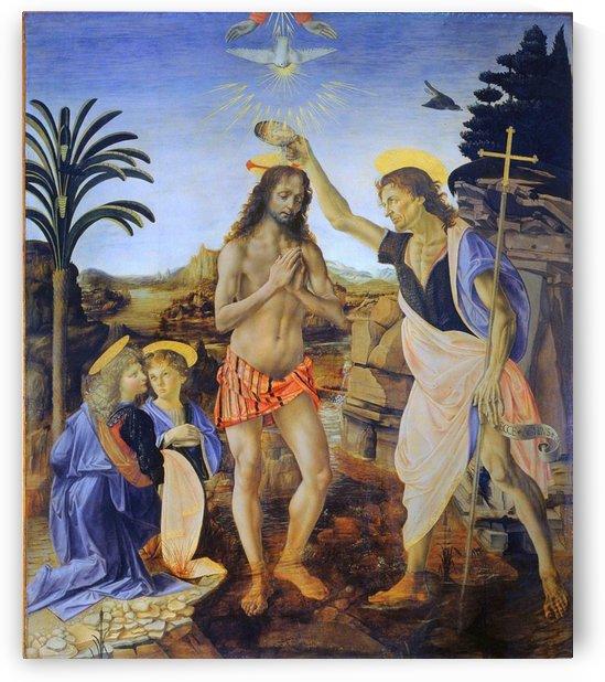Leonardo da Vinci -Verrocchio: The Baptism of Christ HD-300ppi by Stock Photography