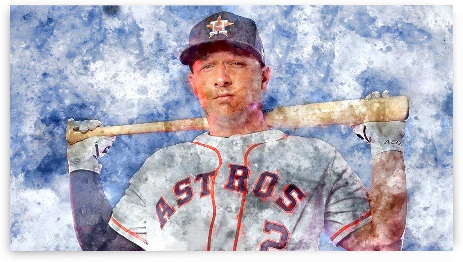 ALEX BREGMAN Water Color Print - Houston Astros print  by Dinger Studios