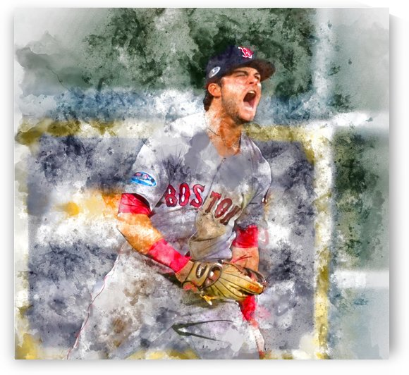 ANDREW BENINTENDI Water Color Print - Boston Red Sox Print by Dinger Studios