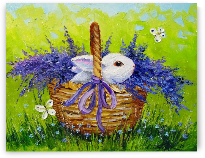 Rabbit in a basket with lavender by Olha Darchuk