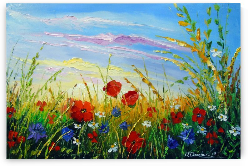 Summer flowers in the oil painting field by Olha Darchuk