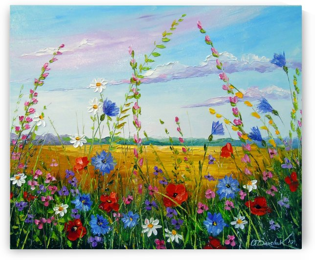 Field in summer flowers by Olha Darchuk