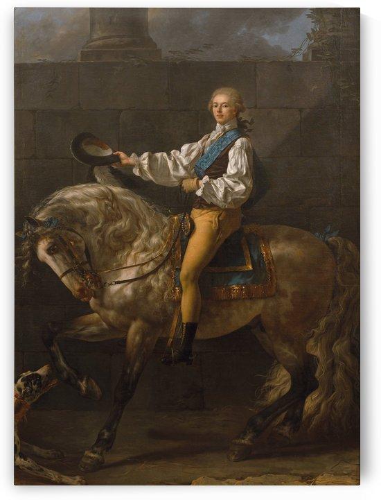 Equestrian portrait of Stanisław Kostka Potocki by Jacques-Louis David