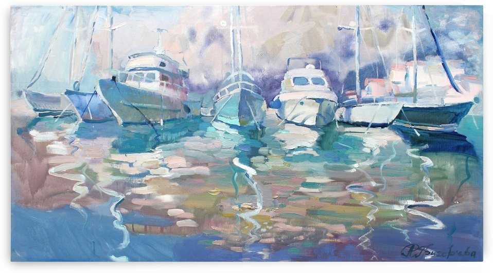 Between day and evening. Calm in the port by Anastasiia Grygorieva