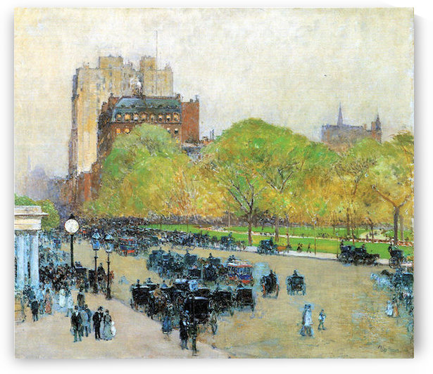 Spring morning in the heart of the city by Hassam by Hassam