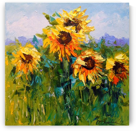 Sunflowers in the wind by Olha Darchuk