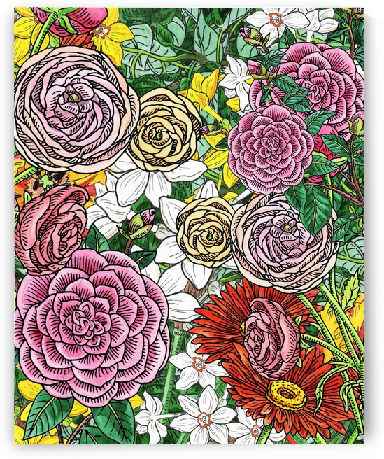 Watercolor Botanical Flowers Garden Flowerbed IV by Irina Sztukowski