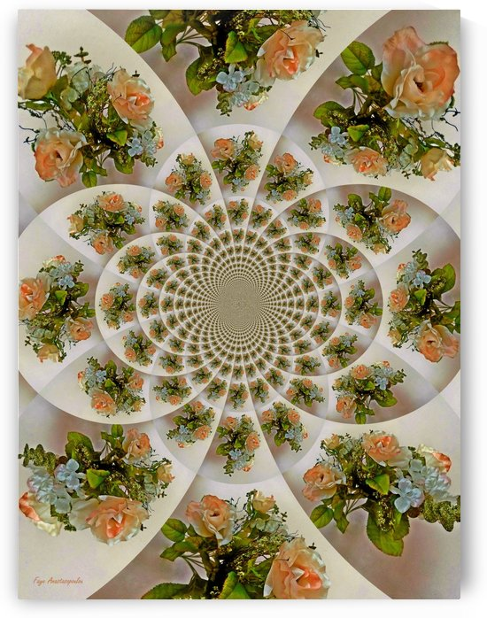 Floral Kaleidoscope Coral by Faye Anastasopoulou