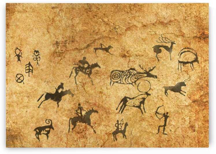 Rock cave paintings. Ancient painting. 4 by Radiy Bohem