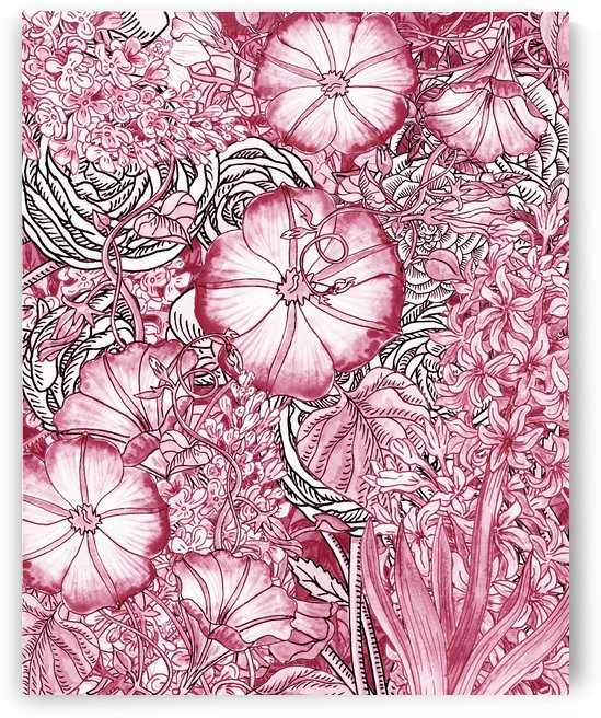 Watercolor Botanical Flowers Garden Pink Flowerbed VI by Irina Sztukowski