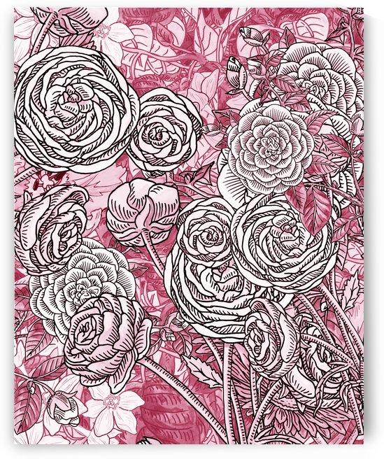 Watercolor Botanical Flowers Garden Pink Flowerbed V by Irina Sztukowski