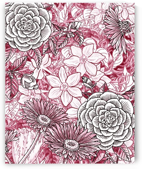 Watercolor Botanical Flowers Garden Pink Flowerbed I by Irina Sztukowski