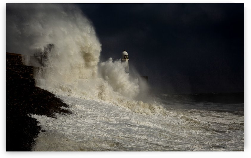 Storm over Porthcawl lighthouse by Leighton Collins
