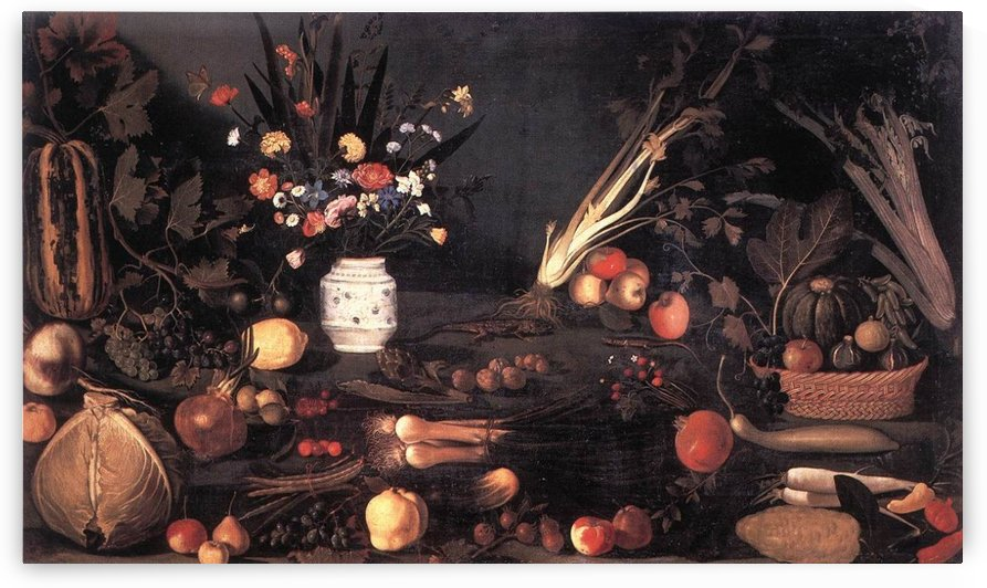 Still life with flowers and fruit caravaggio by Caravaggio