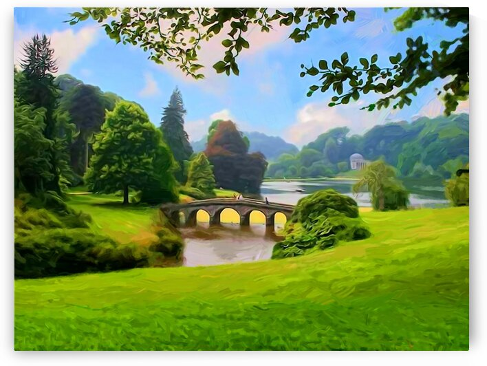 Landscape with a bridge. A park. by Radiy Bohem