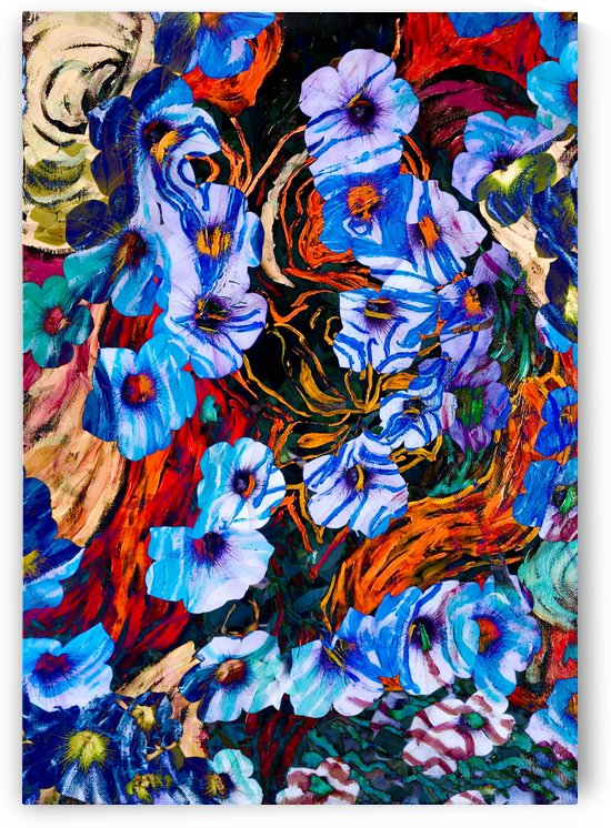 floral mottled indigo by BBS Art