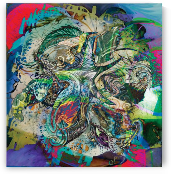 mottled multicolored abstract composition by BBS Art