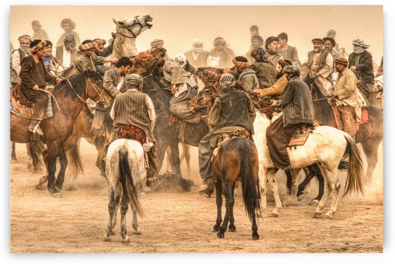 Buzkashi - scramble for the calf by Harald Mundt