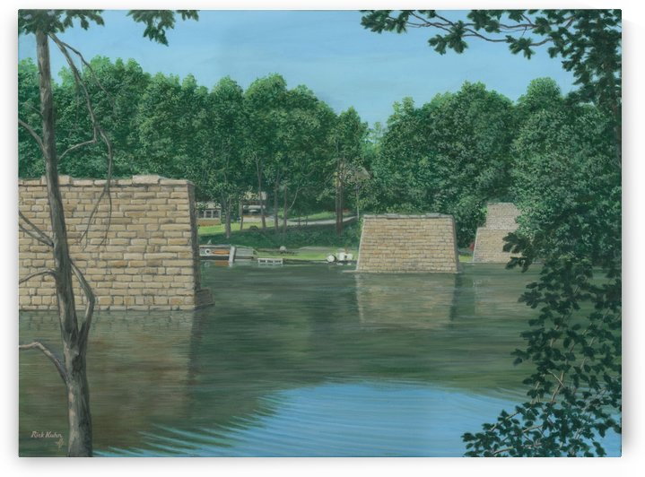 Stone Piers Housatonic River - Newtown Scenes 18 X 24  by Rick Kuhn