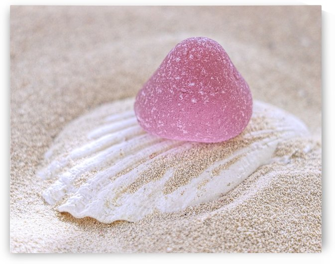 Pink sea glass gumdrop  by Photography by Janice Drew