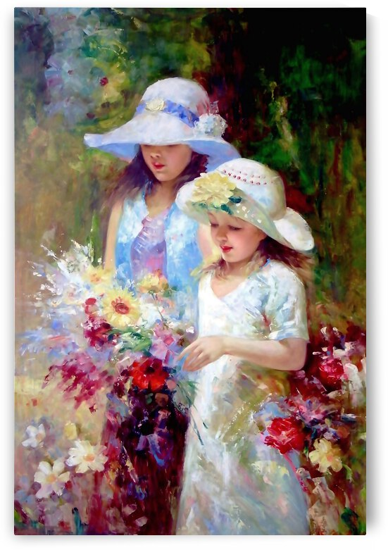 F02 - Two Young Girls Picking Flowers by Clement Tsang
