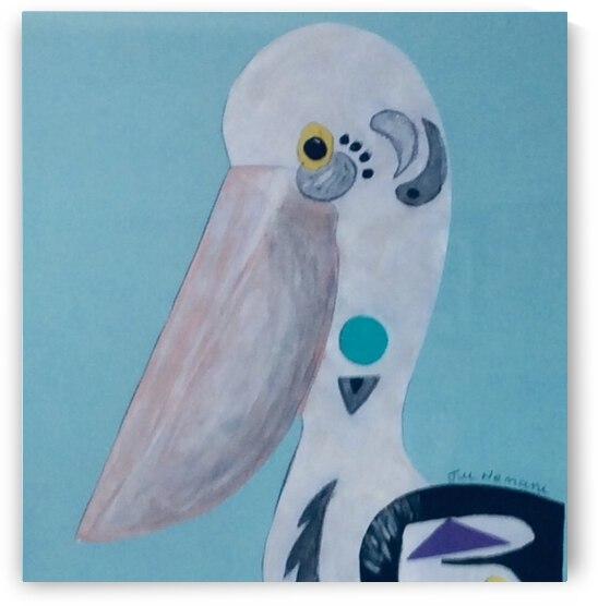 Pelican in Blue  by Zaramar Paintings