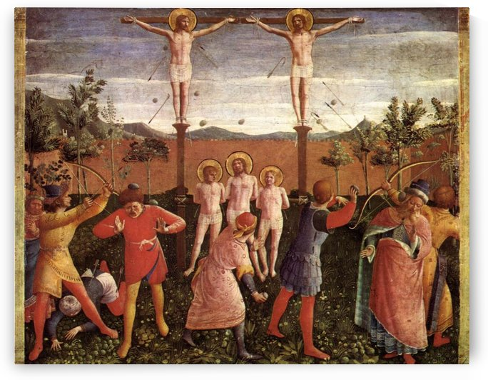 Saint Cosmas and Saint Damian Crucifixed and Stoned by Fra Angelico