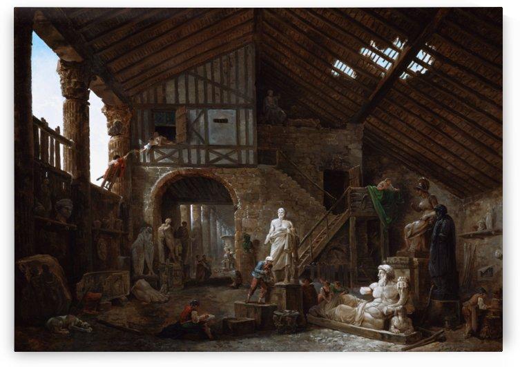 Studio of an Antiquities Restorer in Rome by Hubert Robert by xzendor7