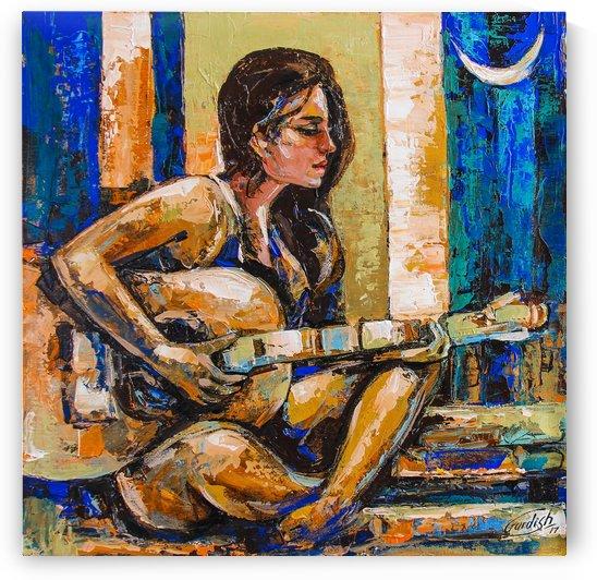 Midnight Music 18x18 by Gurdish Pannu India