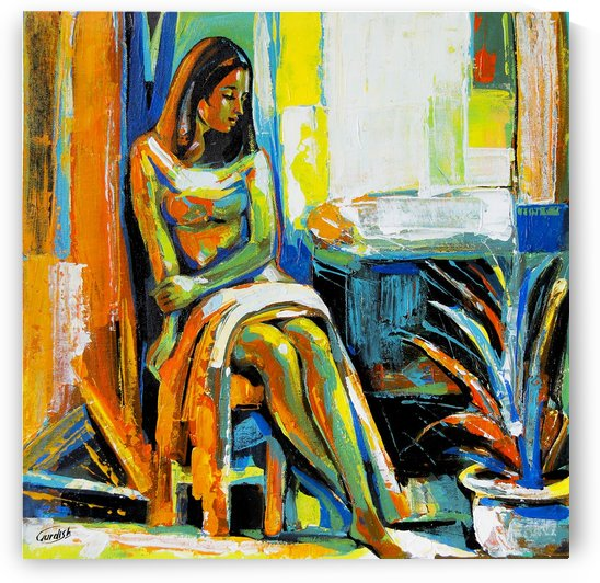 The light behind her window- 8- 18x18 by Gurdish Pannu India