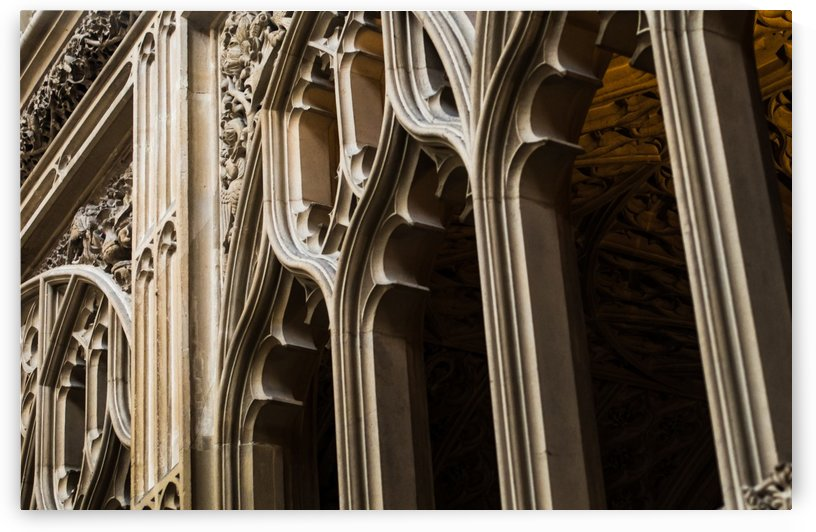 Stonework arches at Bath Abbey by Lewis Marshall
