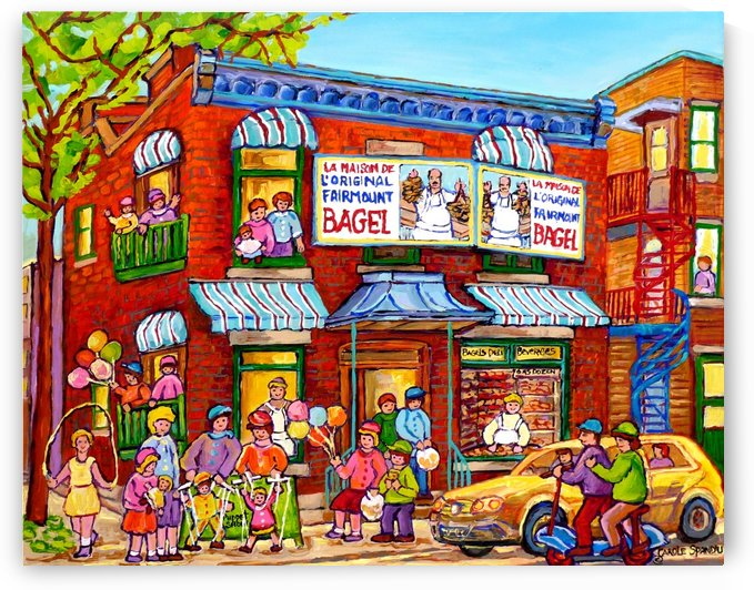 MONTREAL PAINTINGS FAIRMOUNT BAGEL SUMMER SCENE by Carole  Spandau