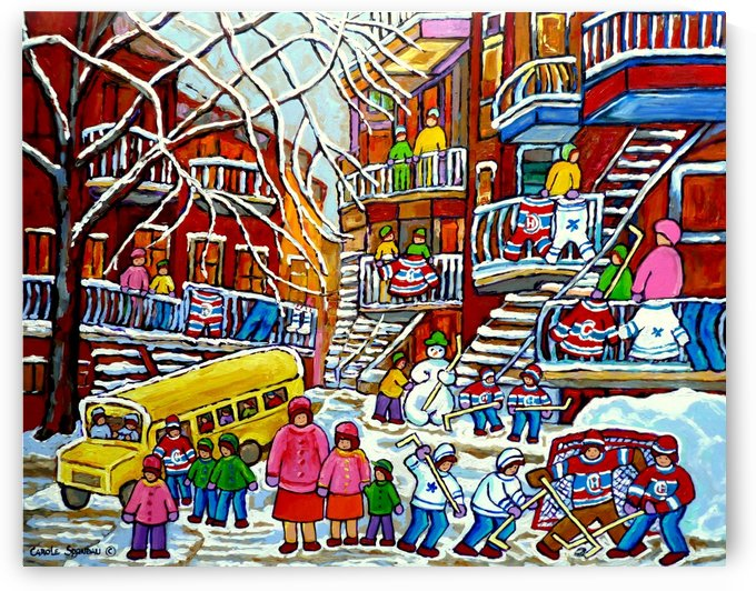 WINTER  WONDERLAND MONTREAL PAINTINGS  by Carole  Spandau
