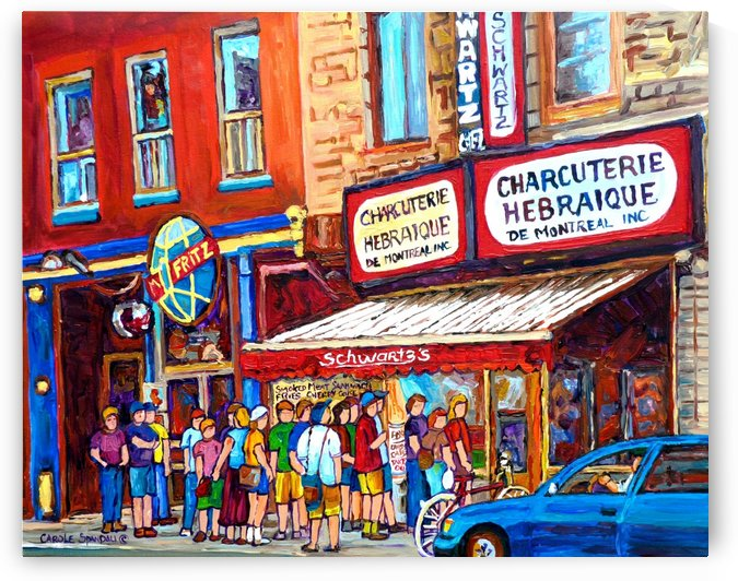 SCHWARTZ HEBREW DELI MONTREAL PAINTING PLATEAU  MONT ROYALBLUE CAR by Carole  Spandau