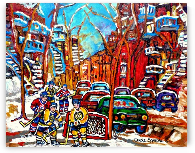 MONTREAL STREET HOCKEY PAINTING  BOSTON AND HABS  by Carole  Spandau