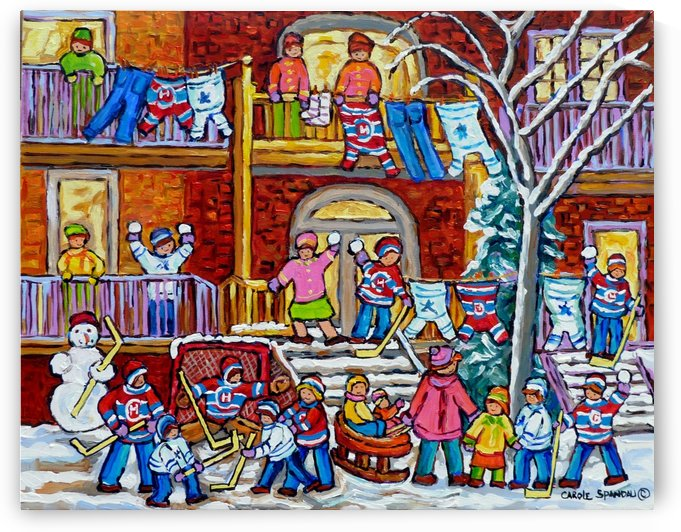 MONTREAL WINTER PORCH SCENE FUN WITH SNOW by Carole  Spandau