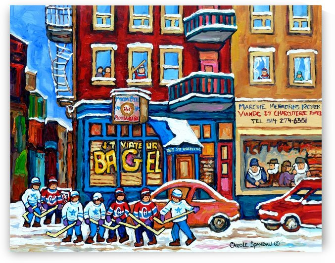 ST VIATEUR BAGEL MONTREAL WINTER SCENE PAINTING HOCKEY ART by Carole  Spandau